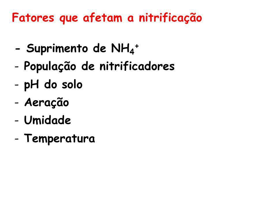Fatores que afetam a nitrificação - Suprimento de NH 4 + - População de nitrificadores - pH do solo - Aeração - Umidade - Temperatura