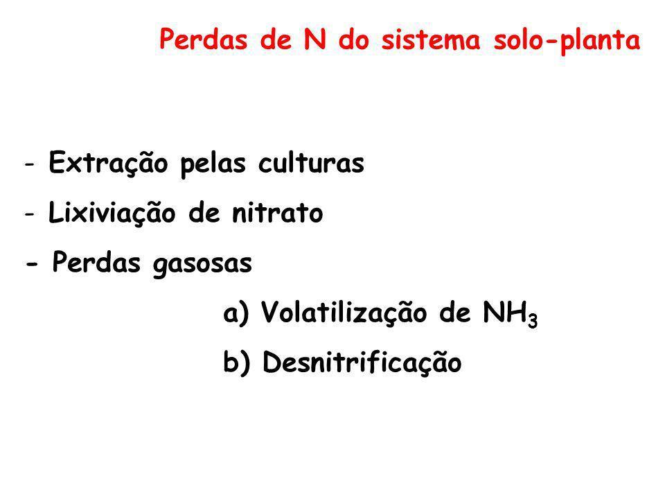 Perdas de N do sistema solo-planta -Extração pelas culturas -Lixiviação de nitrato - Perdas gasosas a) Volatilização de NH 3 b) Desnitrificação