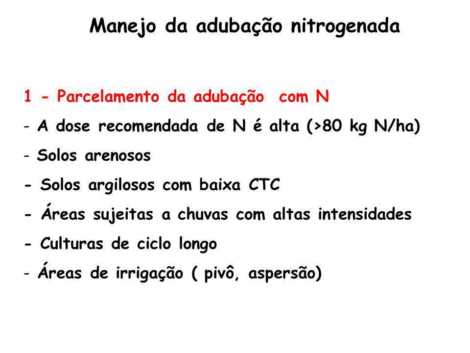 1 - Parcelamento da adubação com N - A dose recomendada de N é alta (>80 kg N/ha) - Solos arenosos - Solos argilosos com baixa CTC - Áreas sujeitas a