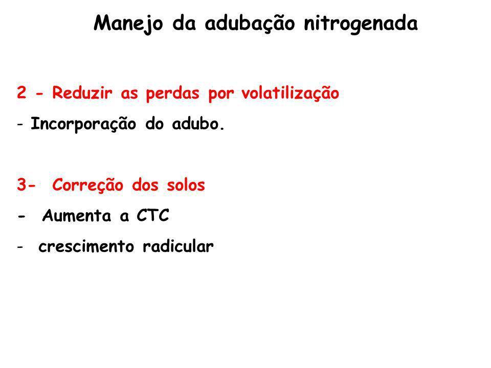 2 - Reduzir as perdas por volatilização - Incorporação do adubo. 3- Correção dos solos - Aumenta a CTC - crescimento radicular Manejo da adubação nitr