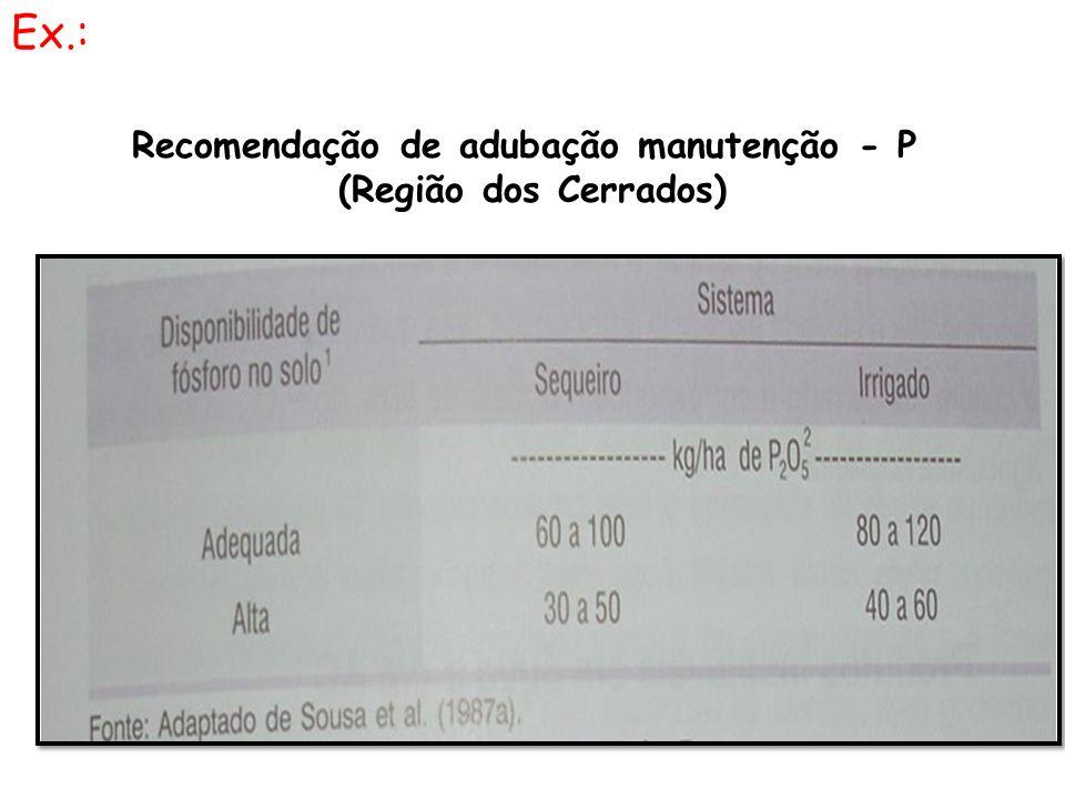 Recomendação de adubação manutenção - P (Região dos Cerrados) Ex.: