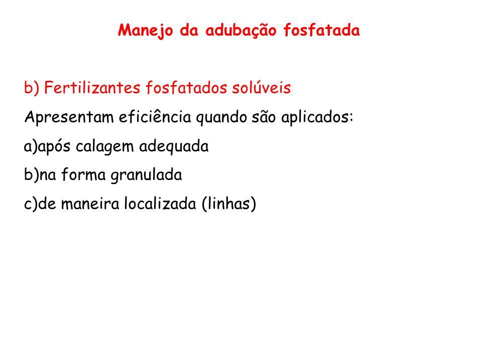 Manejo da adubação fosfatada b) Fertilizantes fosfatados solúveis Apresentam eficiência quando são aplicados: a)após calagem adequada b)na forma granu