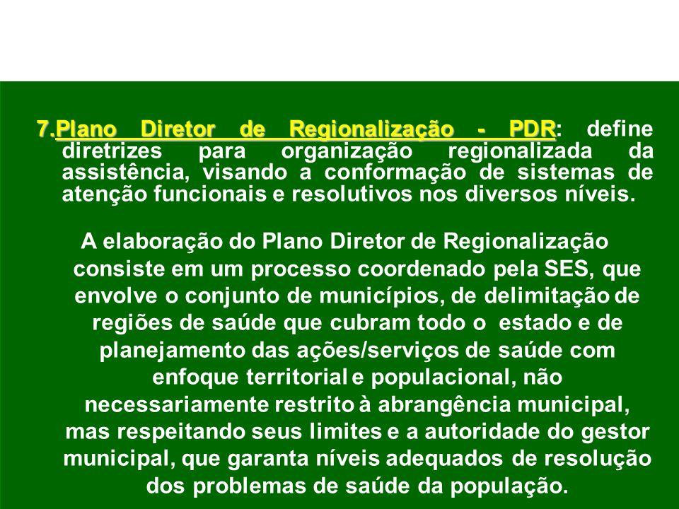 7.Plano Diretor de Regionalização - PDR 7.Plano Diretor de Regionalização - PDR: define diretrizes para organização regionalizada da assistência, visa