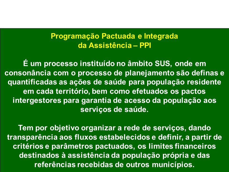 Programação Pactuada e Integrada da Assistência – PPI É um processo instituído no âmbito SUS, onde em consonância com o processo de planejamento são d