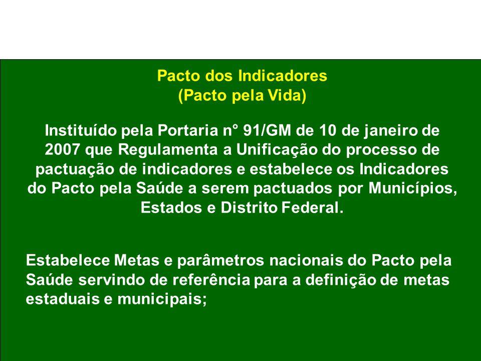 Pacto dos Indicadores (Pacto pela Vida) Instituído pela Portaria n° 91/GM de 10 de janeiro de 2007 que Regulamenta a Unificação do processo de pactuaç