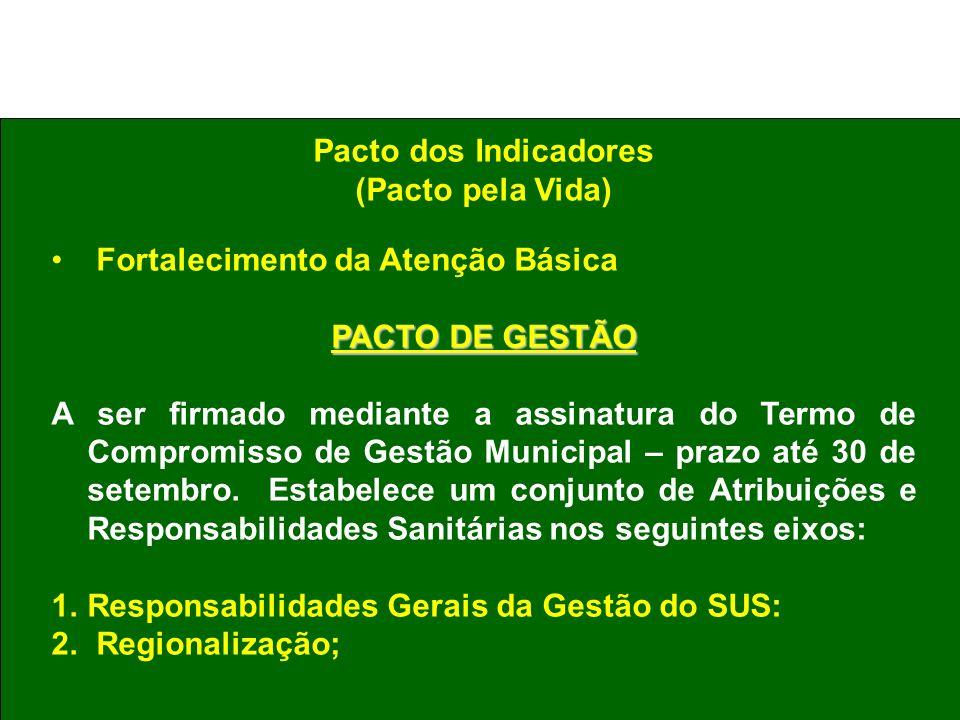 Pacto dos Indicadores (Pacto pela Vida) Fortalecimento da Atenção Básica PACTO DE GESTÃO A ser firmado mediante a assinatura do Termo de Compromisso d
