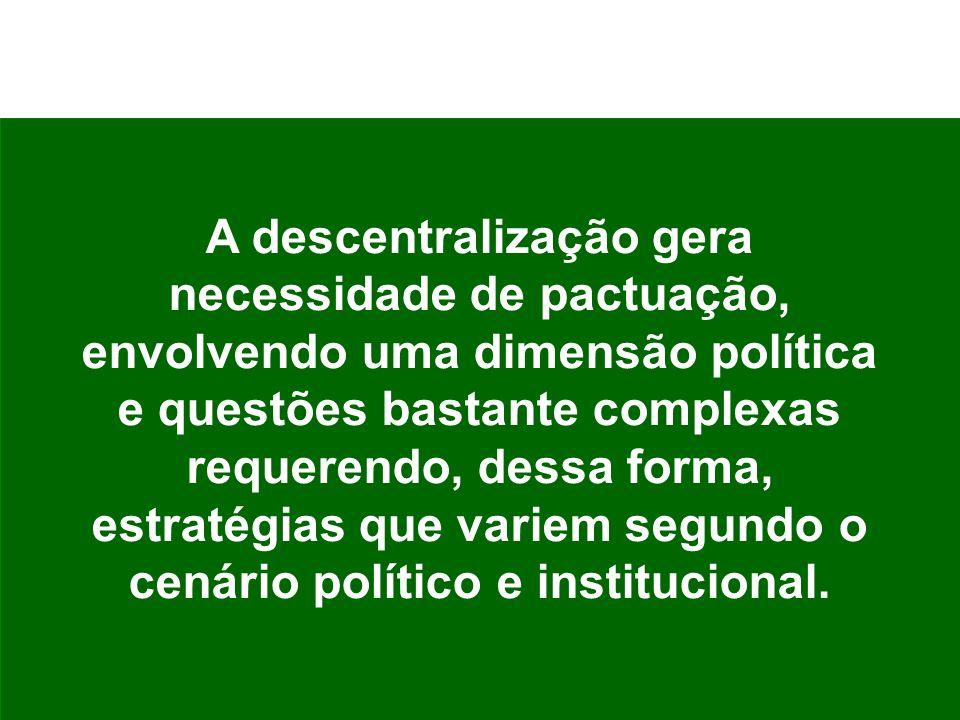 A descentralização gera necessidade de pactuação, envolvendo uma dimensão política e questões bastante complexas requerendo, dessa forma, estratégias