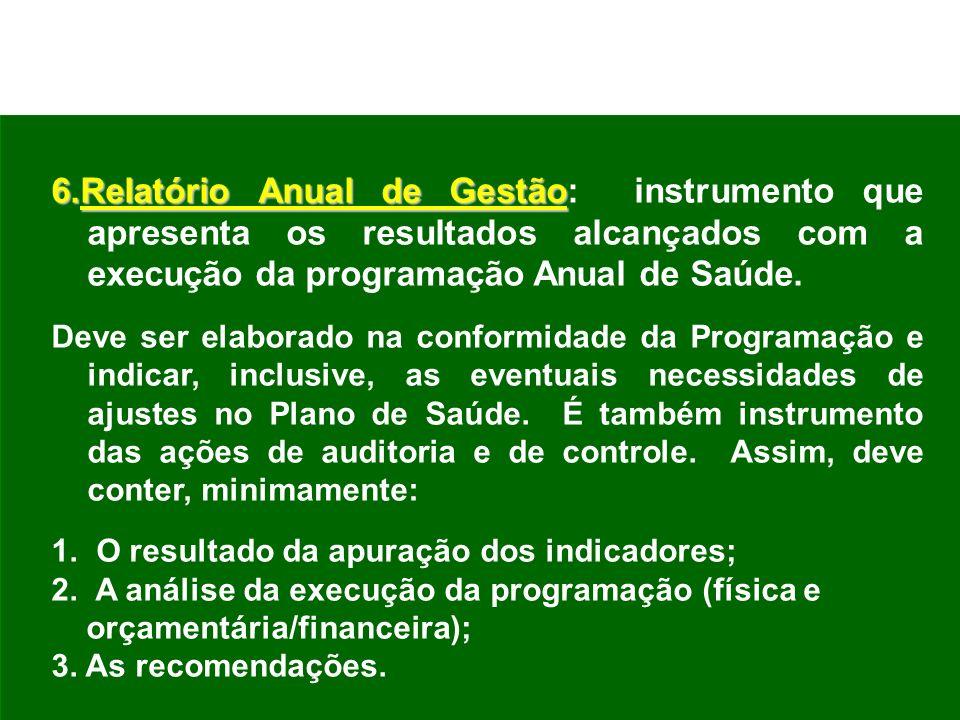 6.Relatório Anual de Gestão 6.Relatório Anual de Gestão: instrumento que apresenta os resultados alcançados com a execução da programação Anual de Saú