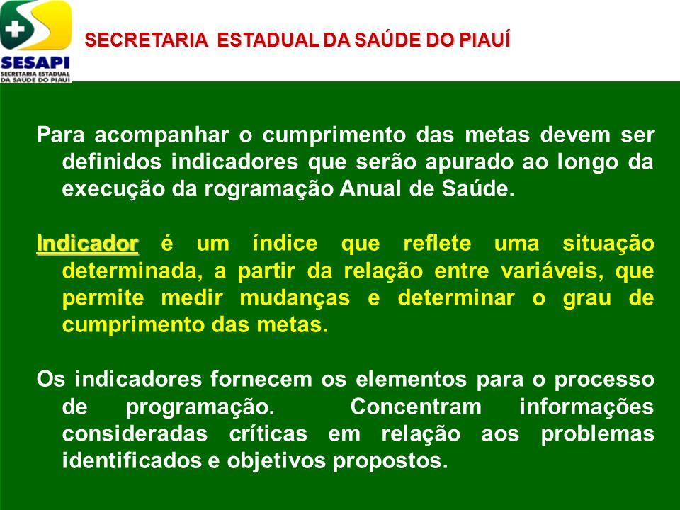 SECRETARIA ESTADUAL DA SAÚDE DO PIAUÍ Para acompanhar o cumprimento das metas devem ser definidos indicadores que serão apurado ao longo da execução d