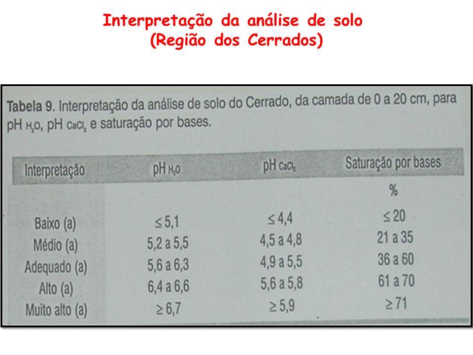 Interpretação da análise de solo (Região dos Cerrados)