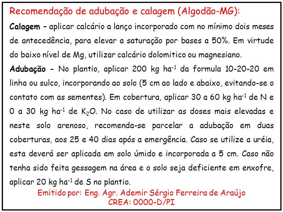 Recomendação de adubação e calagem (Algodão-MG): Calagem – aplicar calcário a lanço incorporado com no mínimo dois meses de antecedência, para elevar