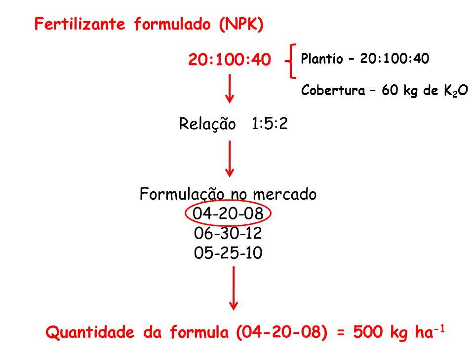 Fertilizante formulado (NPK) 20:100:40 Relação 1:5:2 Formulação no mercado 04-20-08 06-30-12 05-25-10 Quantidade da formula (04-20-08) = 500 kg ha -1