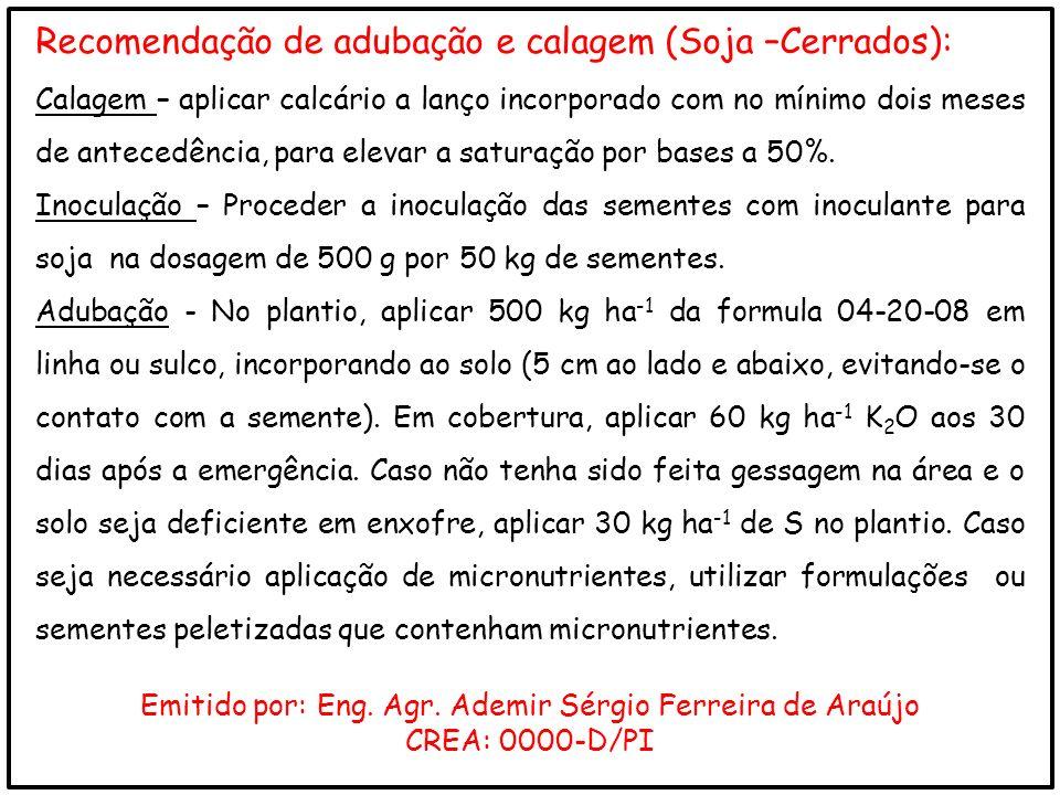 Recomendação de adubação e calagem (Soja –Cerrados): Calagem – aplicar calcário a lanço incorporado com no mínimo dois meses de antecedência, para ele