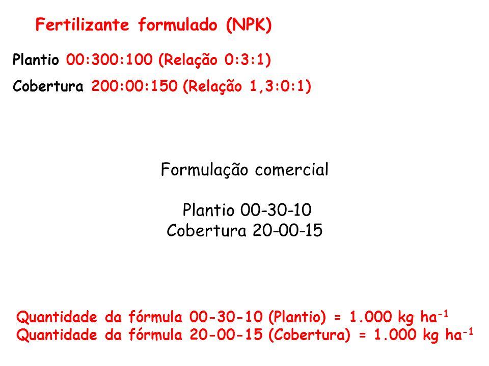 Fertilizante formulado (NPK) Plantio 00:300:100 (Relação 0:3:1) Cobertura 200:00:150 (Relação 1,3:0:1) Formulação comercial Plantio 00-30-10 Cobertura