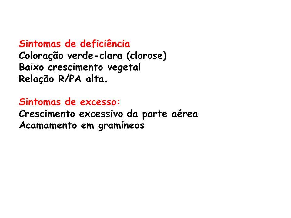 Sintomas de deficiência Coloração verde-clara (clorose) Baixo crescimento vegetal Relação R/PA alta. Sintomas de excesso: Crescimento excessivo da par