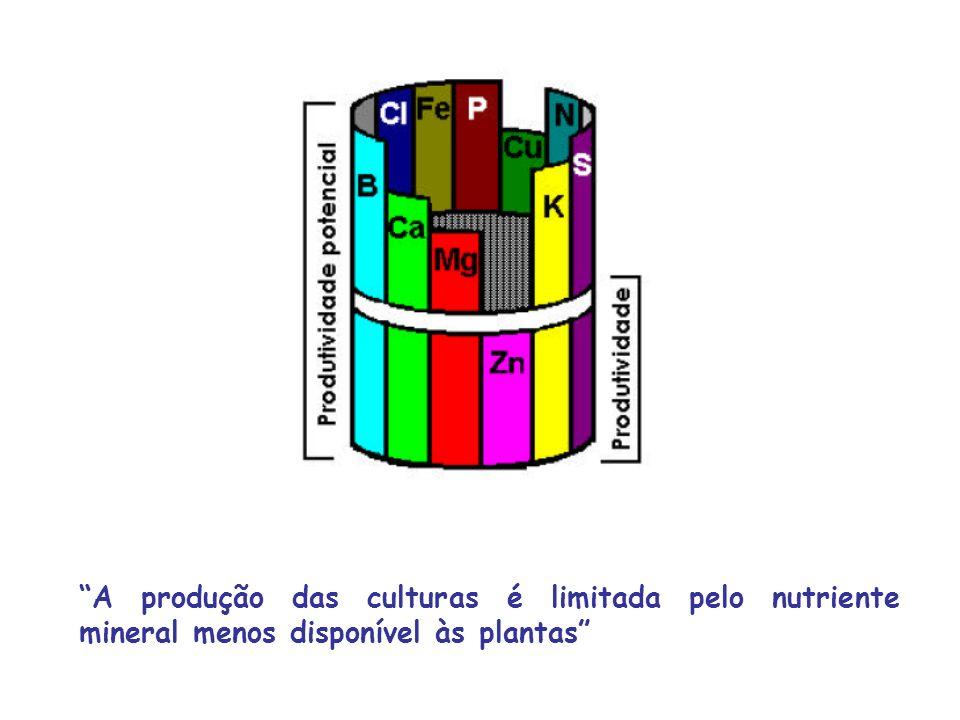 Resposta quadrática Os nutrientes adicionados a solos deficientes promovem o crescimento e a produção vegetal até certo ponto, a partir do qual ocorre resposta negativa pela planta