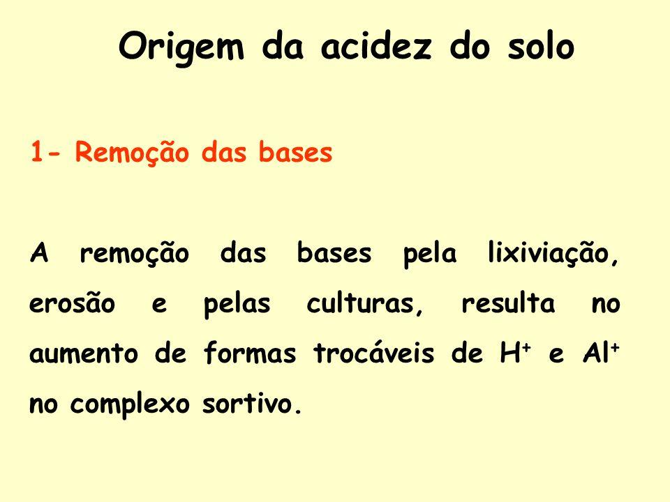 Origem da acidez do solo 1- Remoção das bases A remoção das bases pela lixiviação, erosão e pelas culturas, resulta no aumento de formas trocáveis de