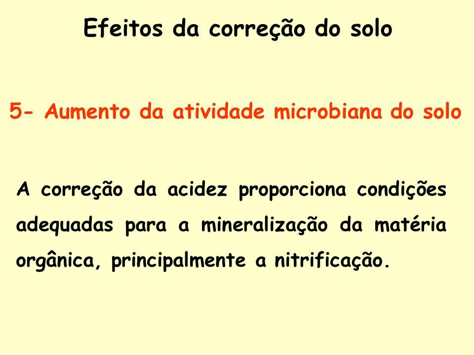 5- Aumento da atividade microbiana do solo A correção da acidez proporciona condições adequadas para a mineralização da matéria orgânica, principalmen