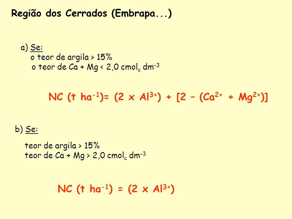 a) Se: o teor de argila > 15% o teor de Ca + Mg < 2,0 cmol c dm -3 NC (t ha -1 )= (2 x Al 3+ ) + [2 – (Ca 2+ + Mg 2+ )] Região dos Cerrados (Embrapa..