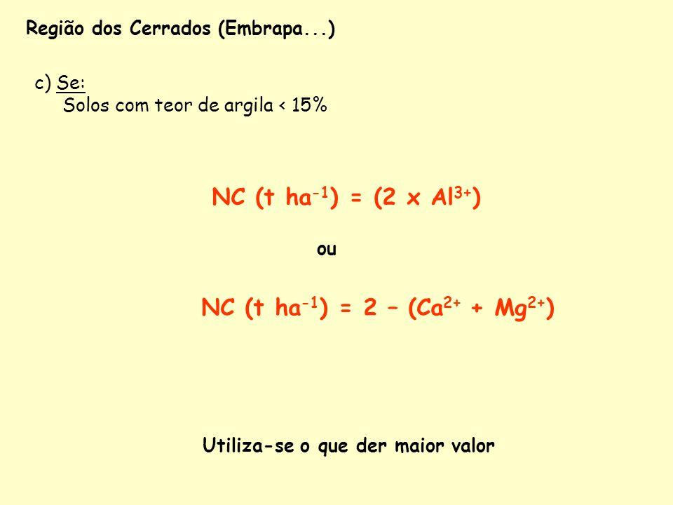 c) Se: Solos com teor de argila < 15% NC (t ha -1 ) = (2 x Al 3+ ) NC (t ha -1 ) = 2 – (Ca 2+ + Mg 2+ ) ou Utiliza-se o que der maior valor Região dos