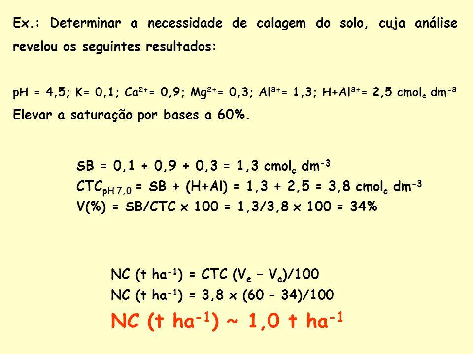 Ex.: Determinar a necessidade de calagem do solo, cuja análise revelou os seguintes resultados: pH = 4,5; K= 0,1; Ca 2+ = 0,9; Mg 2+ = 0,3; Al 3+ = 1,