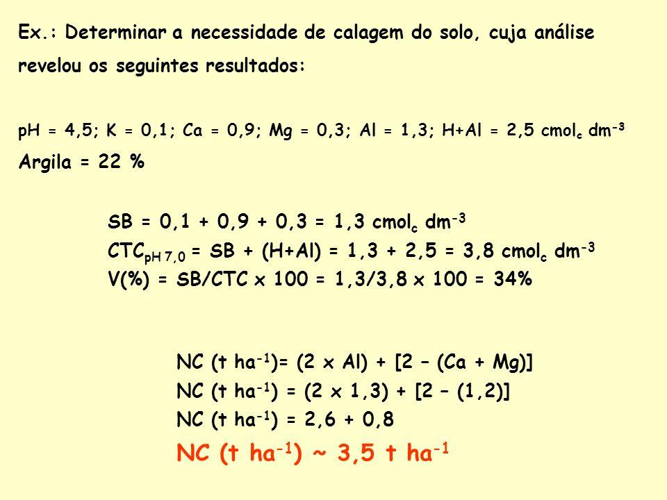 Ex.: Determinar a necessidade de calagem do solo, cuja análise revelou os seguintes resultados: pH = 4,5; K = 0,1; Ca = 0,9; Mg = 0,3; Al = 1,3; H+Al