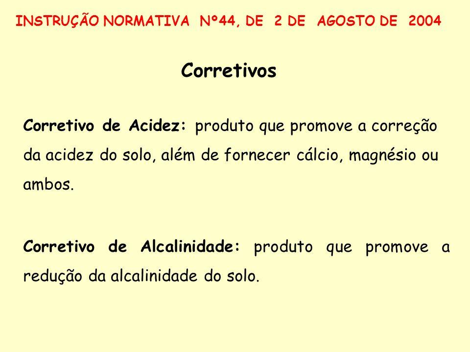 Corretivo de Acidez: produto que promove a correção da acidez do solo, além de fornecer cálcio, magnésio ou ambos. Corretivo de Alcalinidade: produto