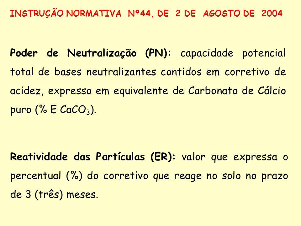 Poder de Neutralização (PN): capacidade potencial total de bases neutralizantes contidos em corretivo de acidez, expresso em equivalente de Carbonato