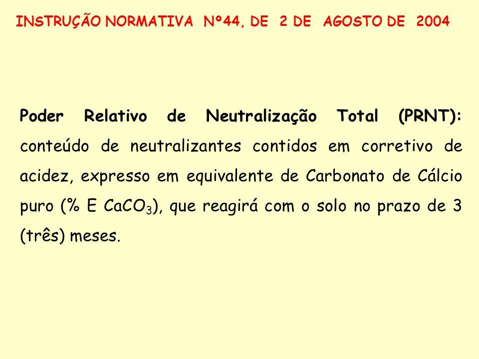 Poder Relativo de Neutralização Total (PRNT): conteúdo de neutralizantes contidos em corretivo de acidez, expresso em equivalente de Carbonato de Cálc