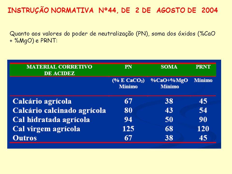 Quanto aos valores do poder de neutralização (PN), soma dos óxidos (%CaO + %MgO) e PRNT: INSTRUÇÃO NORMATIVA Nº44, DE 2 DE AGOSTO DE 2004