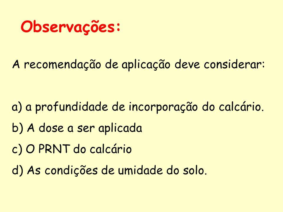 Observações: A recomendação de aplicação deve considerar: a) a profundidade de incorporação do calcário. b) A dose a ser aplicada c) O PRNT do calcári