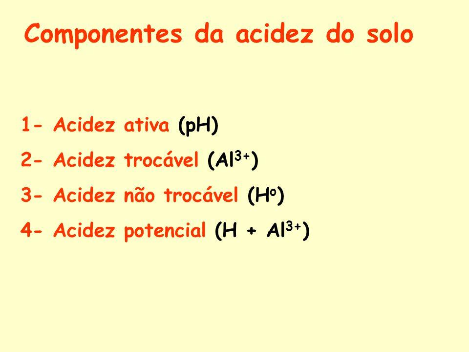 Componentes da acidez do solo 1- Acidez ativa (pH) 2- Acidez trocável (Al 3+ ) 3- Acidez não trocável (H o ) 4- Acidez potencial (H + Al 3+ )