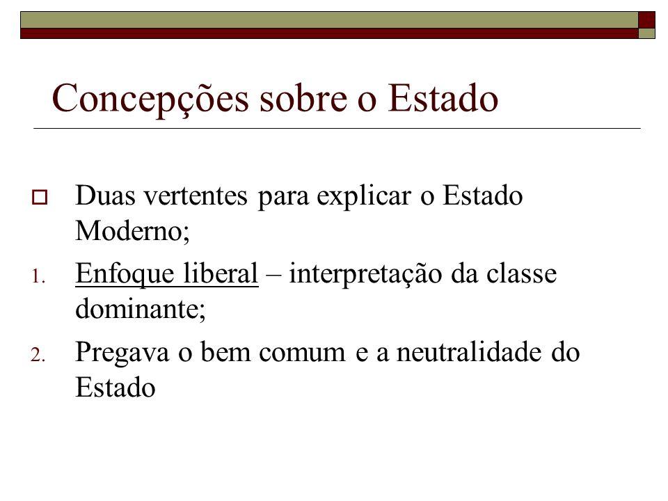 Concepções sobre o Estado Duas vertentes para explicar o Estado Moderno; 1. Enfoque liberal – interpretação da classe dominante; 2. Pregava o bem comu