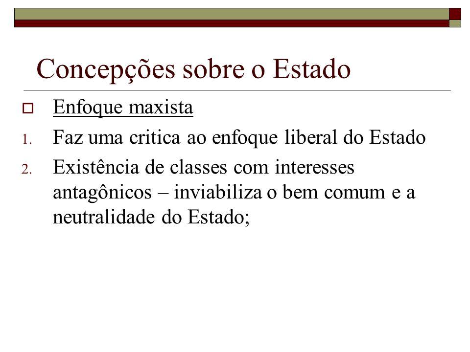 Concepções sobre o Estado Enfoque maxista 1. Faz uma critica ao enfoque liberal do Estado 2. Existência de classes com interesses antagônicos – inviab