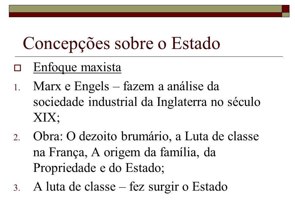 Concepções sobre o Estado Enfoque maxista 1. Marx e Engels – fazem a análise da sociedade industrial da Inglaterra no século XIX; 2. Obra: O dezoito b