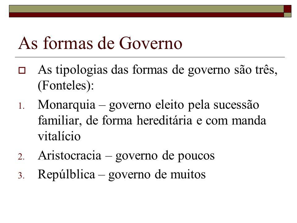 As formas de Governo As tipologias das formas de governo são três, (Fonteles): 1. Monarquia – governo eleito pela sucessão familiar, de forma hereditá