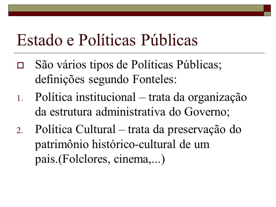 Estado e Políticas Públicas São vários tipos de Políticas Públicas; definições segundo Fonteles: 1. Política institucional – trata da organização da e