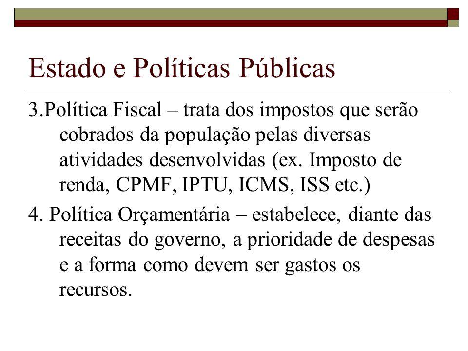 Estado e Políticas Públicas 3.Política Fiscal – trata dos impostos que serão cobrados da população pelas diversas atividades desenvolvidas (ex. Impost