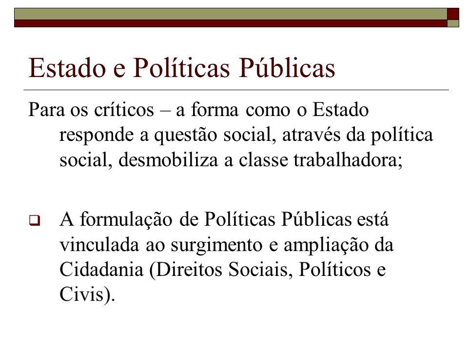 Estado e Políticas Públicas Para os críticos – a forma como o Estado responde a questão social, através da política social, desmobiliza a classe traba