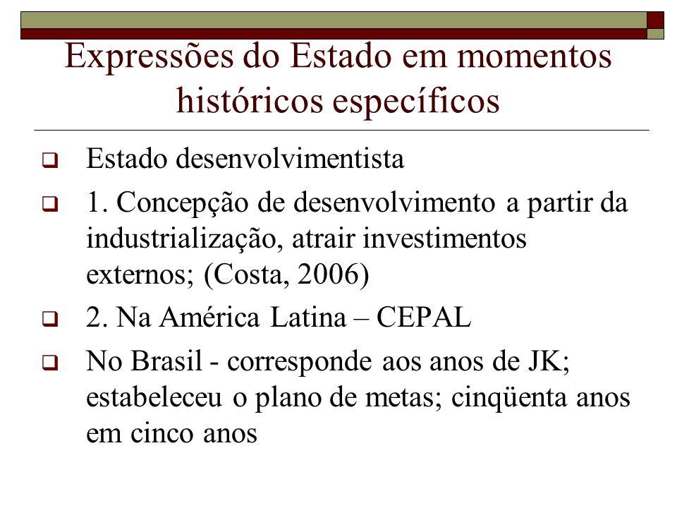 Expressões do Estado em momentos históricos específicos Estado desenvolvimentista 1. Concepção de desenvolvimento a partir da industrialização, atrair