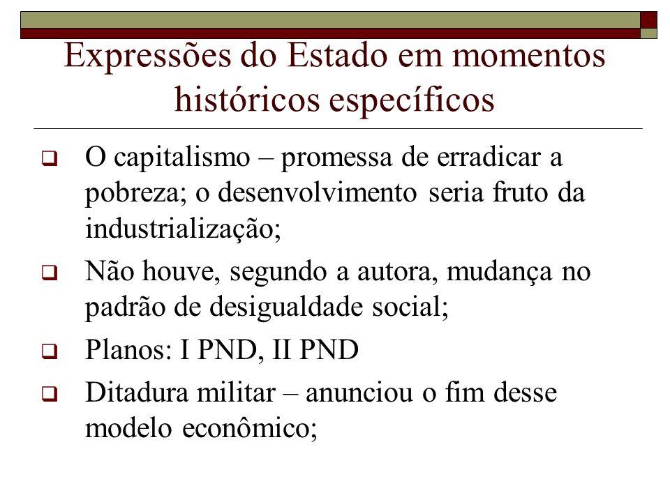Expressões do Estado em momentos históricos específicos O capitalismo – promessa de erradicar a pobreza; o desenvolvimento seria fruto da industrializ
