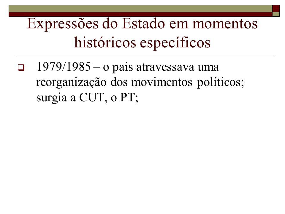 Expressões do Estado em momentos históricos específicos 1979/1985 – o pais atravessava uma reorganização dos movimentos políticos; surgia a CUT, o PT;