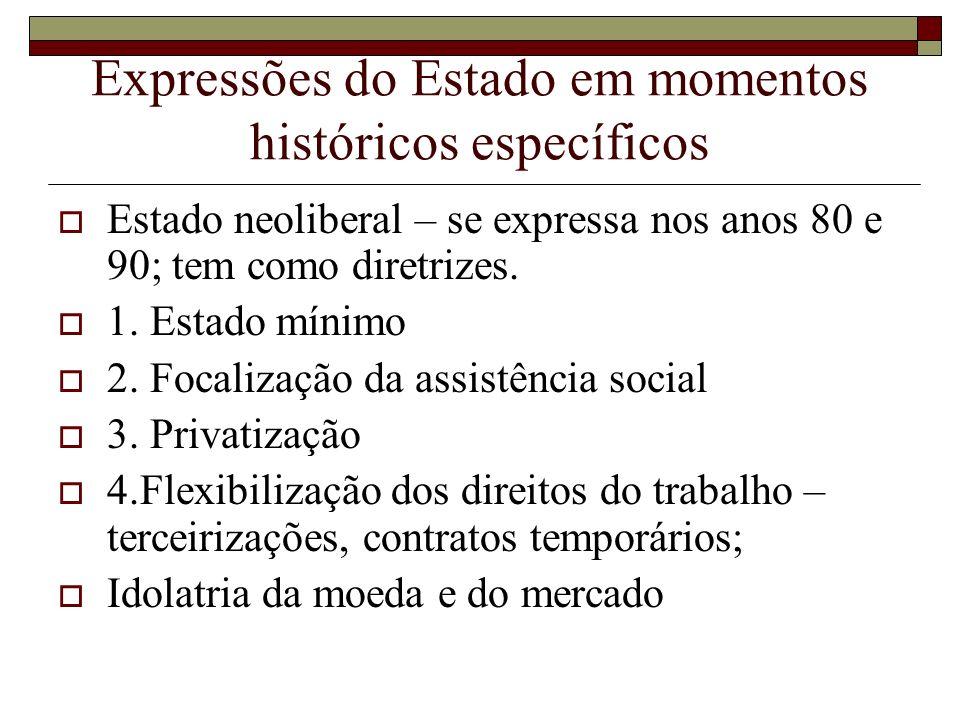 Expressões do Estado em momentos históricos específicos Estado neoliberal – se expressa nos anos 80 e 90; tem como diretrizes. 1. Estado mínimo 2. Foc