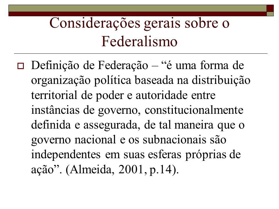 Considerações gerais sobre o Federalismo Definição de Federação – é uma forma de organização política baseada na distribuição territorial de poder e a
