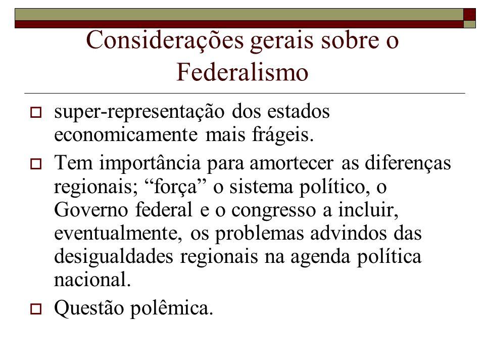 Considerações gerais sobre o Federalismo super-representação dos estados economicamente mais frágeis. Tem importância para amortecer as diferenças reg