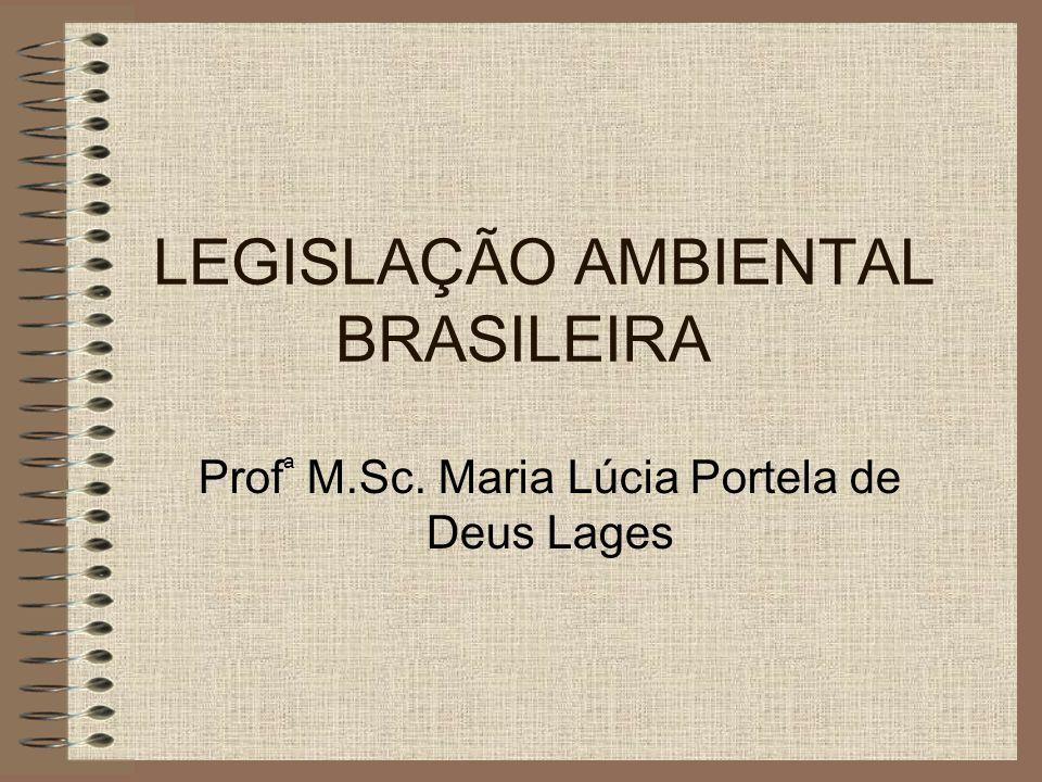 LEGISLAÇÃO AMBIENTAL BRASILEIRA Prof ª M.Sc. Maria Lúcia Portela de Deus Lages