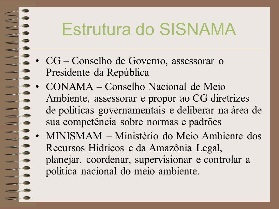 Estrutura do SISNAMA CG – Conselho de Governo, assessorar o Presidente da República CONAMA – Conselho Nacional de Meio Ambiente, assessorar e propor a