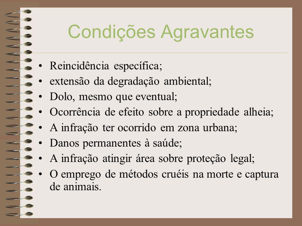 Condições Agravantes Reincidência específica; extensão da degradação ambiental; Dolo, mesmo que eventual; Ocorrência de efeito sobre a propriedade alh