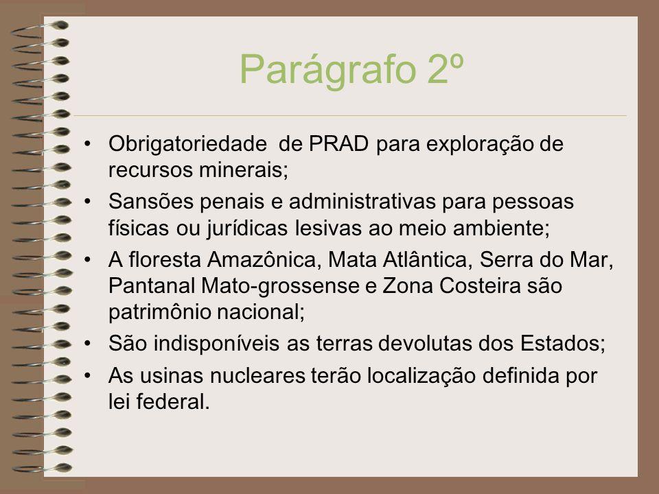 Parágrafo 2º Obrigatoriedade de PRAD para exploração de recursos minerais; Sansões penais e administrativas para pessoas físicas ou jurídicas lesivas