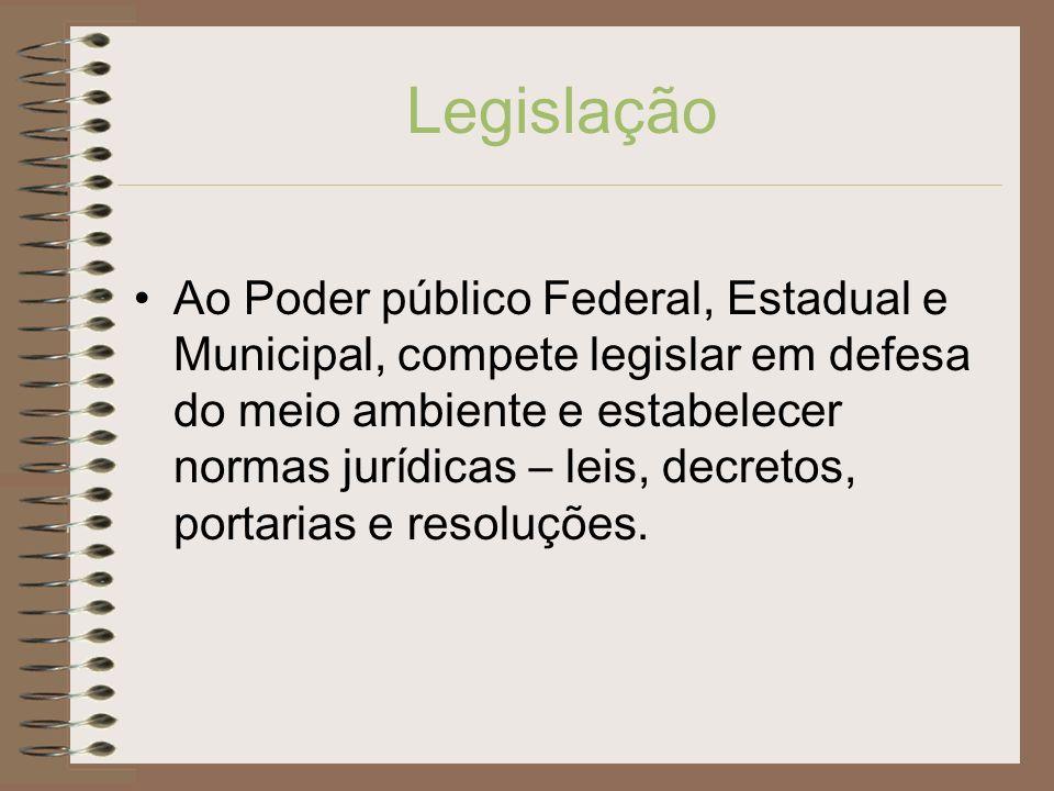 Legislação Ao Poder público Federal, Estadual e Municipal, compete legislar em defesa do meio ambiente e estabelecer normas jurídicas – leis, decretos